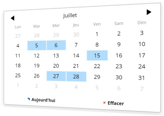 Sélectionner plusieures dates possibles dans le calendrier Plugin
