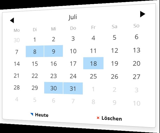 Mehrere mögliche Daten mit dem Kalender Plugin auswählen