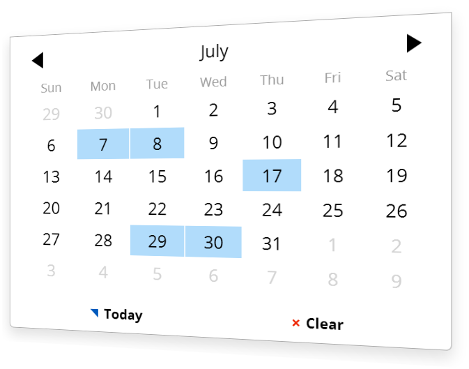 Choose a date with the calendar plugin