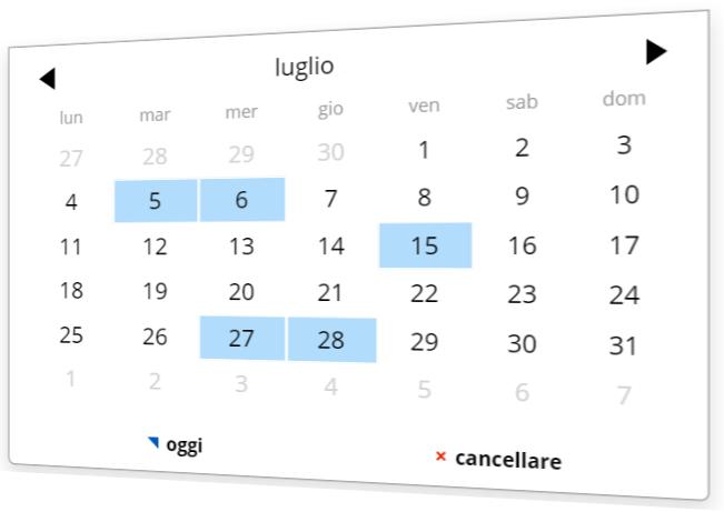 Scegli una data nel plugin del calendario