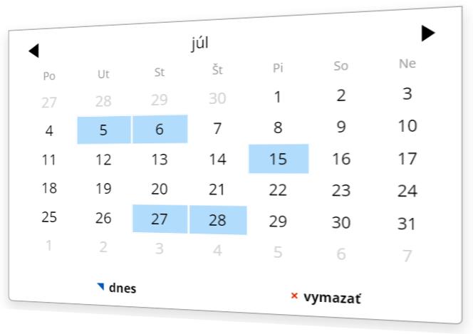 Vyberte dátum pomocou doplnku kalendár