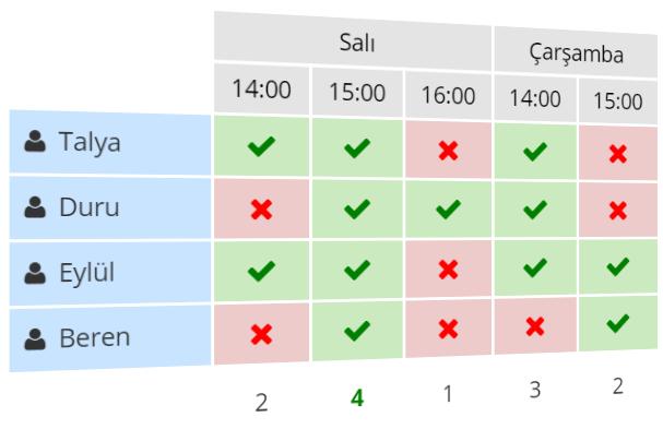 Toplantılarınızı  planlamanıza yardımcı olacak bir anket örneği.